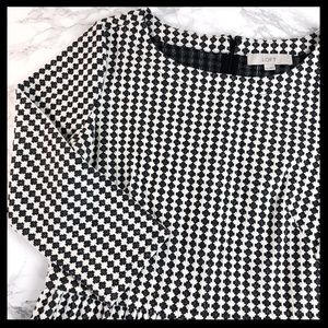 loft // houndstooth check fit and flare dress